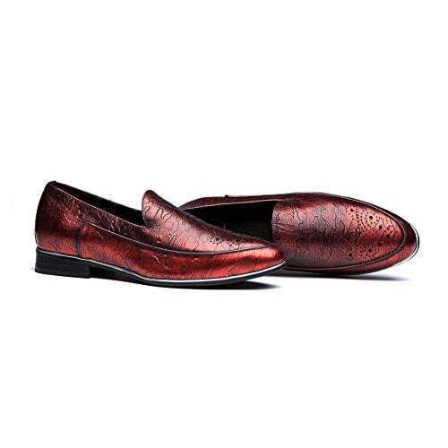 OPP Chaussures de Ville en Cuir Sneaker Basses Hommes Rouge Vineux