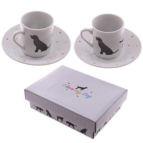 NEUHEIT 2er Set Espresso Tee Kaffeetasse und Untertasse - I love my Hunde-Design PDS (Design Hund Tee)