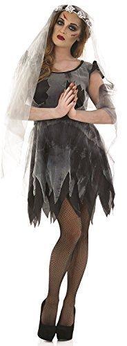 Damen Sexy Tot Schwarz Corpse Bride Halloween Kostüm Kleid Outfit 8-22 Übergröße - Schwarz, (Bride Sexy Kostüme Corpse)