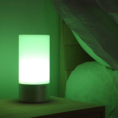 AUKEY Table Lamp, Touch Sensor Bedside Lamps, Dimmable Warm White Light & Color Changing RGB for Bedrooms