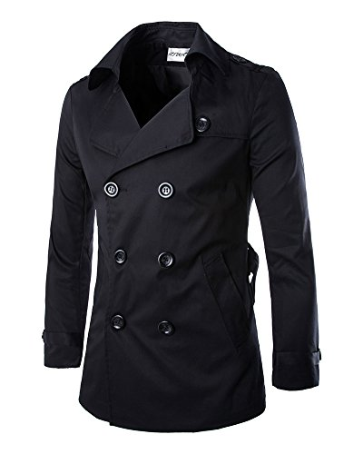 Herrenmantel Lang Herbst Winterjacke Slim Fit Warm Mantel Trenchcoat Outfit Schwarz XL