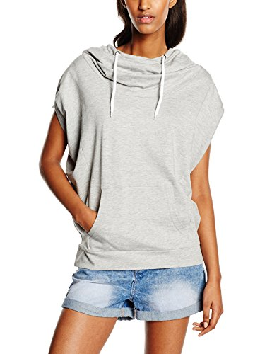 Urban Classics Damen Ladies Sleeveless Terry High Neck Hoody Pullover, Grau (Grey 111), Medium -