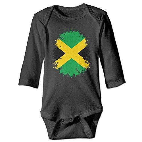 WBinHua T-Shirts für Baby-Jungen,Bertha Distressed Jamaica Flag Jamaican Baby Boys Girls Long Sleeve Onesies Bodysuits (Hüte Jamaican)