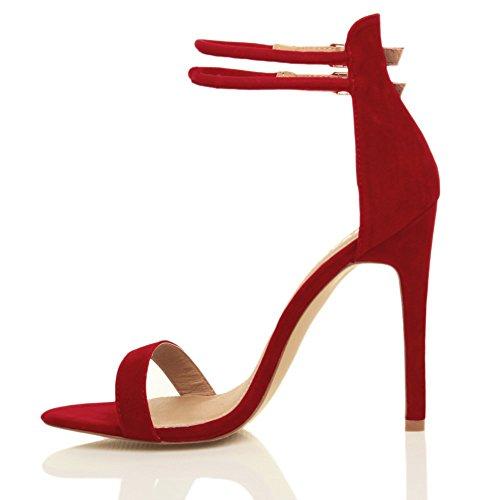 Sandali da Donna Tacco Alto a Stiletto Doppio Cinturnino Rosso scamosciata