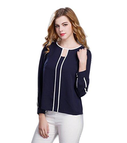 good-dress-de-las-mujeres-de-manga-larga-capa-de-imprimacin-corta-camisetasazul-marinom