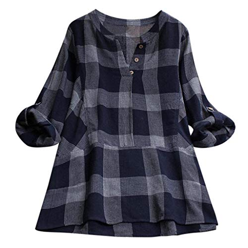 VEMOW Sommer Herbst Elegante Damen Plus Größe Dot Print Lose Baumwolle  Casual Täglichen Party Strandurlaub Kurzarm Shirt Vintage Bluse  Pulli(Y5-Marine, ... 62a4a4c1a3