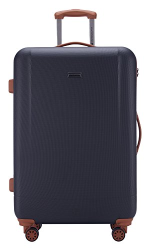 HAUPTSTADTKOFFER - Wannsee - Hartschalenkoffer Koffer Trolley Rollkoffer Reisekoffer, TSA, 77 cm, 94 Liter, Dunkelblau/Braun - 2