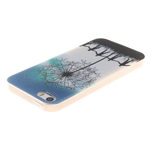 """SsHhUu iphone 5 Coque, Beau Fleur Ultra Slim Doux TPU Silicone Protecteur Painting Art Étui Housse Case Cover Pour Apple iphone 5 5S SE (4.0"""") Pissenlit gratuit"""