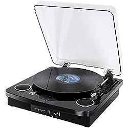 Tourne Disque, Turntable Vinyle DLITIME 3 Record Player Vitesses Portable, 2 Haut-Parleurs Bluetooth Intégrés, avec Entrée Auxiliaire/RCA/USB/REC/PH