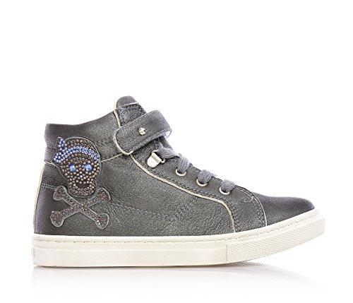 FLORENS - Sneaker grigia stringata in pelle con chiusura a strappo e zip laterale, decorazioni in strass e suola in gomma, Bambina, Ragazza-27