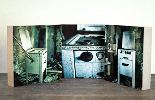 3er Set alter Ofen verfallen verlassen marode Vintage Lost Place Foto auf Holz, im Quadrat, 10 x 10 cm