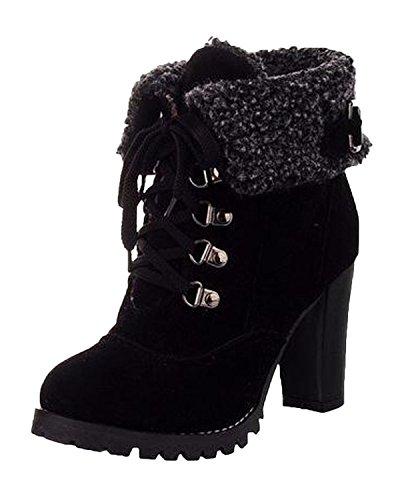 Minetom Donna Inverno Stivaletti Tacco Alto Stivali Stringate Scarpe Martin Boots Stivali Corti Nero