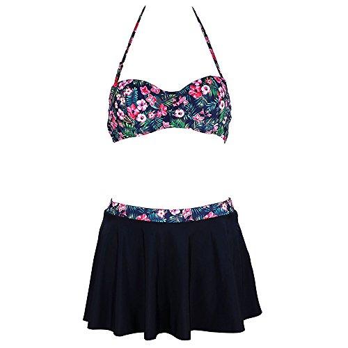 X-HERR Damen Klassisch Blumen Halfter Mittlere Taille Zweiteilig Skirtini Badeanzug (EU 36-38=Tag Size M, Schwarz) (Tape Verpackung Pad)