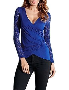 StyleDome Mujer Camiseta Blusa Mangas Largas Casual Elegante Encaje Oficina Playa Cuello Pico