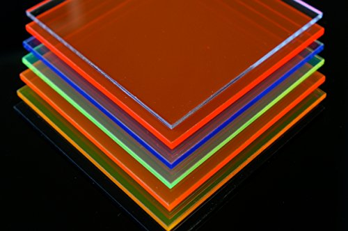 Vidrio acrílico, corte, fluorescente, placa Plexiglas, varios tamaños, ( 200mm x 300mm x 3mm, Amarillo Fluorescente / gelb )