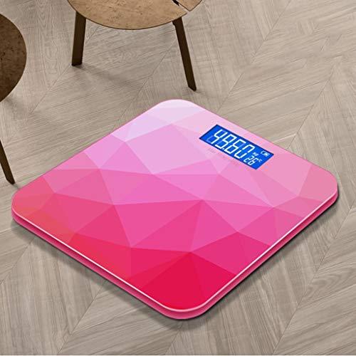 SYLOZ Gewicht Personenwaage, Intelligente Körperfettwaage USB-Aufladung, Waage Aus Gehärtetem Glas, Automatische Schalter Maschine 26 cm × 26 cm Gewichtsskala (Color : Pink)
