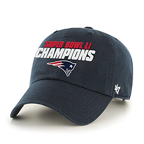 NFL New England Patriots Super Bowl 51 Champions '47 Clean Up Adjustable Hat, Navy, One Size