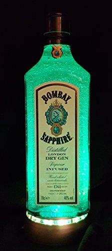 Bombay Sapphire - Flaschenlampe mit LED Podest Frost Upcycling Geschenk Idee