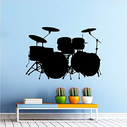 HLLCY PVC Wandaufkleber Musik Drum Kit Schlagzeug Wandtattoo Rock Band Kunst Design Home Schlafzimmer Dekor Musik Trommel Wandkunst Wandbild 57X40 cm