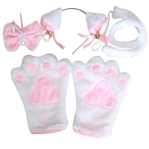 ch Katze Ohren Schwanz Krawatte weisse Handschuhe einer vierkoepfigen Familie (Katze Ohren Und Schwanz Kostüm Uk)