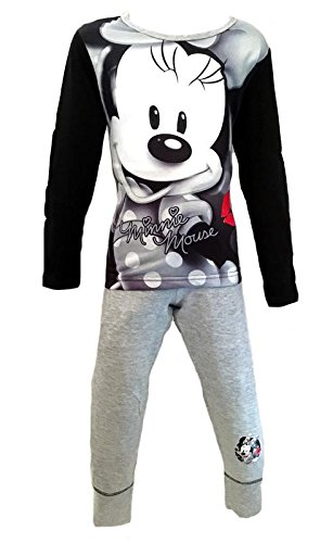 Girls Childrens Kids Official Disney Minnie Mouse Long Sleeve Pyjamas Set PJs - Black Grey Red Lilac - Age 4-12 Years