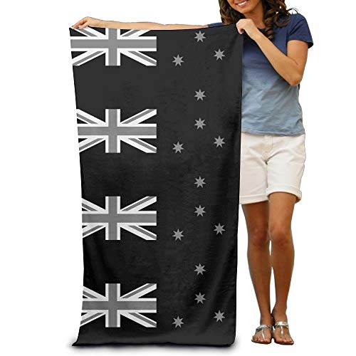 KIMIOE Badetücher Duschtücher Strandtücher Black White New Zealand Flag Beach Towels Luxurious Soft Eco-Friendly Printing Design Pool,Non-Toxic décor 31