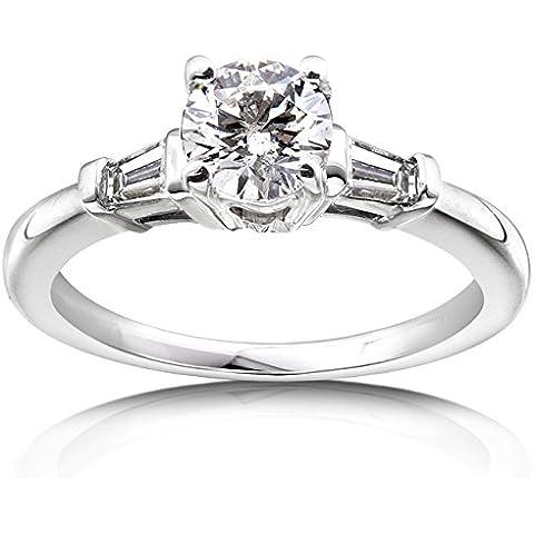 Con diamante da 1 k (ctw)-Anello di fidanzamento in oro bianco 14 carati, certificato)
