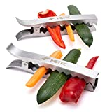MS-Tec Gemüsezangen für Grill & Backofen - 4 Stück - für Perfekt gegrilltes Gemüse - Hochwertiger rostfreier Edelstahl - Grill-Zange für Gemüse