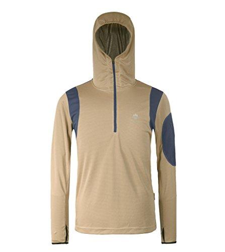 HYSENM Reißverschluss Atmungsaktiv Leicht mit kapuzee Bambus Holzkohle Faser Outdoor Angeln Sonnenschutz Jacke, Khaki, M