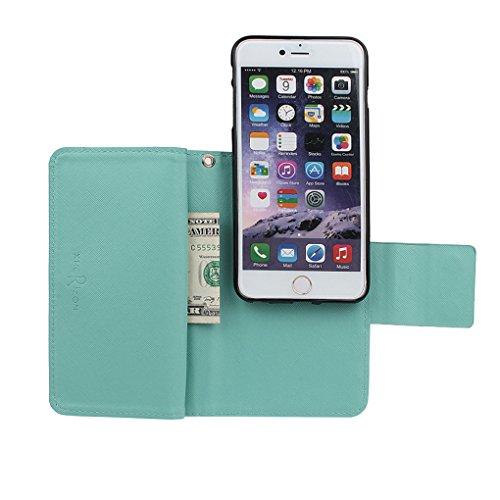 xhorizon FX Prämie Leder Folio Case [Brieftasche] [Magnetisch abnehmbar] Uhrarmband Geldbeutel Flip Vogel Tasche Hülle für 4.7 Zoll iPhone 6 6s mit einer Auto Einfassungs Halter Pink mit 9H ausgeglichenes GlasFilm