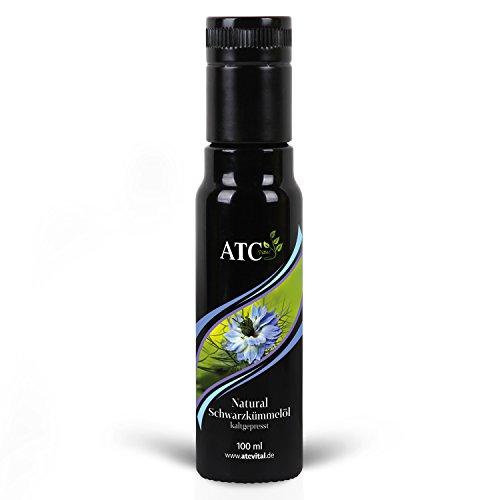 Schwarzkümmelöl der Marke ATC Vital - 100 ml - kaltgepresstes Öl aus echter Nigella Sativa Saat – milder Geschmack, große Wirkung - naturrein und ohne Zusatzstoffe – nur echt im Violettglas!