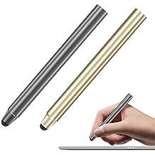 MoKo Stylus con Punta de Fibra - [2 Pzs] Universal 8mm Pluma de Alta Precisión , para Dispositivos de Pantalla Táctil Smartphones & Tabletas, iPad, iPhone, Samsung?Gris y Oro
