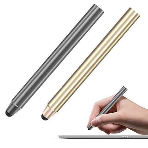 MoKo Stylus de Maille Fibre (Lot de 2), 8mm Haute Précision, pour Les écrans Tactiles Smartphone Tablettes(iPad, iPhone X/ 8/8+, Samsung etc.) - Gris Sidéral et Or