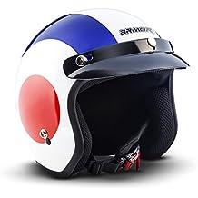 """Armor · AV-47 """"Retro"""" · Casco moto Demi Jet · Scooter motocicleta Urban Urbano Retro Helmet · DOT certificado · Click-n-Secure™ Clip · Bolsa de transporte · M (57-58cm)"""
