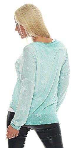IKONA21 - Fashion Italy Damen Shirt Pulli Boxy Bluse Tunika Longshirt Onesize S M L 36 38 40 42 500 468 Grün