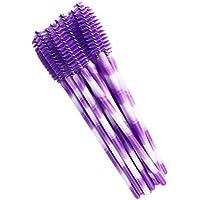 Lurrose 50 piezas de pestañas desechables pinceles de rímel maquillaje varitas pincel de ojos aplicador de cejas maquillaje cosmético kits de herramientas de pincel (blanco púrpura oscuro)