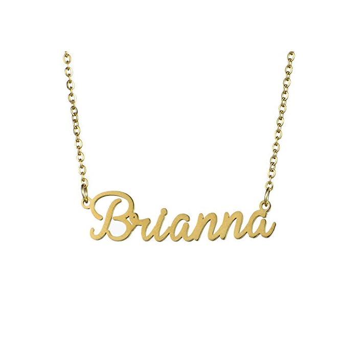 """Name Halskette personalisiert, Name Halskette Kursive Schrift mit Namen Anhänger 16""""Einstellbare Kette"""