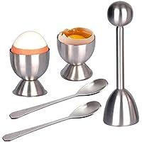KOBWA Acero inoxidable abridor de huevo 1 huevo Cracker/juego de decoración 2Topper cucharas y 2 tazas
