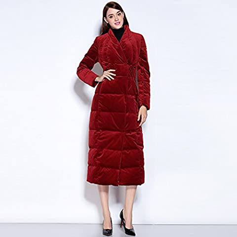 BIU caliente abajo cubre la chaqueta de las mujeres de Europa y América Delgado sección larga de color sólido con cuello en V delgada de la rodilla de invierno , red , s