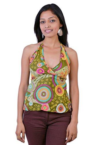 Jaipur Kala Kendra Women's Cotton Beachwear Printed Tank Top Casual Wear Top Medium Green
