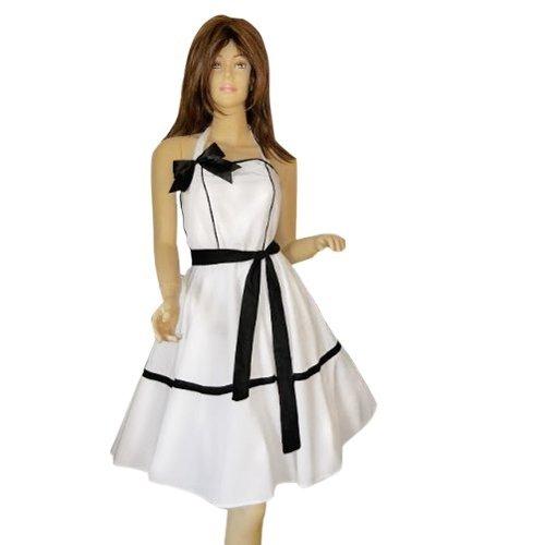 K01 Tolles Kleid Pettticoat Tellerrock, Einheitsgröße 34-42, weiß 50er 60er Jahre Kleider