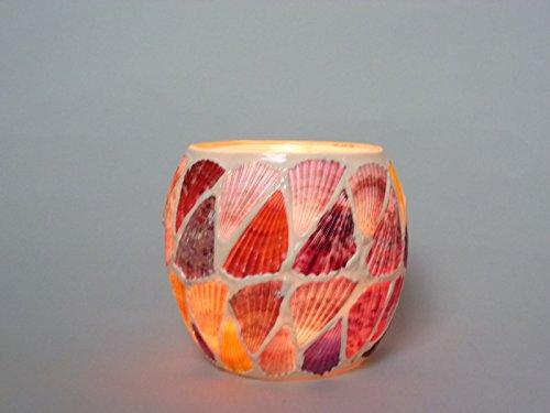 Dapo Leuchten 2 x Windlicht-Glas Muschel handgearbeitet Teelicht-Glas Teelichthalter (Muschel rot-beige) -