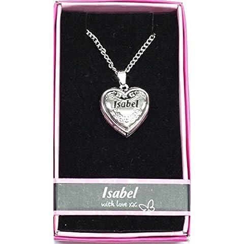 Sterling Effectz - Ciondolo a medaglione a forma di cuore, con cornice portafoto e nome Isabel, personalizzabile, in elegante cofanetto di presentazione