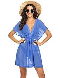 Avidlove Bikini Cover Up Boho Chiffon Tunika Strandponcho Sommer Kurze Bat Ärmel Kleid Bluse Swimwear Tief V Ausschnitt Strandkleid