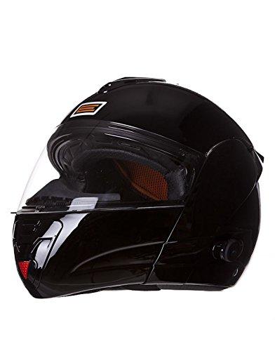 KENROD Casco para moto con bluetooth e intercomunicador. Color negro. Talla M
