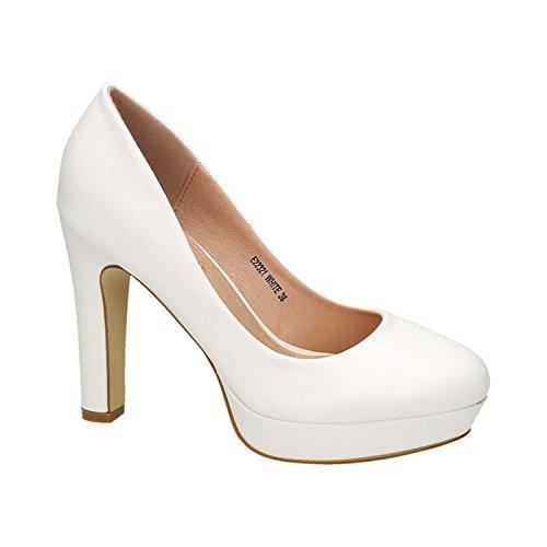 Klassische Damen Pumps Stilettos High Heels Plateau Abend Schuhe Bequem 321 (39, Weiß)