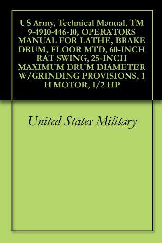 1/2 Motor (US Army, Technical Manual, TM 9-4910-446-10, OPERATORS MANUAL FOR LATHE, BRAKE DRUM, FLOOR MTD, 60-INCH RAT SWING, 25-INCH MAXIMUM DRUM DIAMETER W/GRINDING ... 1 H MOTOR, 1/2 HP (English Edition))