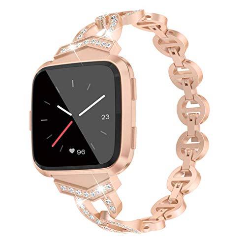 SYY Armband Für Fitbit/Versa Lite, Metall mit Strass Ersatzband Uhrenarmband Band Armbänder, Schwarz/Gold/Pink/Rose Gold/Silber (Gold 2)