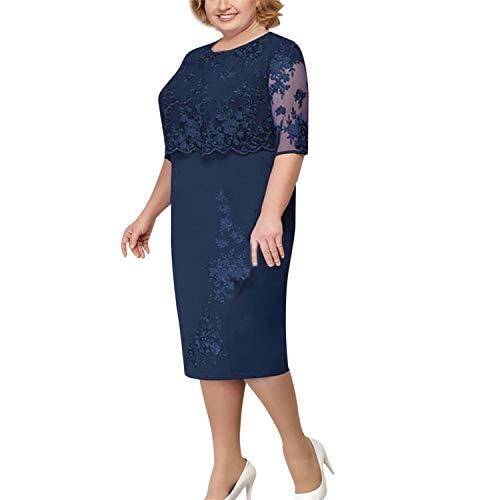 Virginia Robin Plus Size Frauen Neue Art und Weise Chiffon Overlay Dreiviertelärmel Stitching unregelmäßiger Rand Spitzenkleid, Navy, L - Lilly Pulitzer-mantel