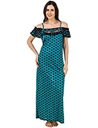 Freely women's Polka Dotted Off-Shoulder Full Satin Nighty